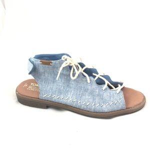 TOMS Denim Canvas Lace Open Toe Velcro Shoe   6